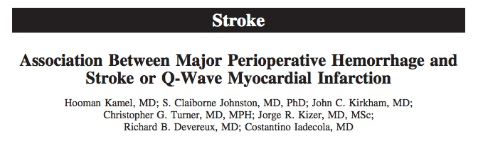 Circulation. 2012 Jul 10;126(2):207-12. doi: 10.1161/CIRCULATIONAHA.112.094326. Epub 2012 Jun 7. Association between major perioperative hemorrhage and stroke or Q-wave myocardial infarction. Kamel H, Johnston SC, Kirkham JC, Turner CG, Kizer JR, Devereux RB, Iadecola C. Source Department of Neurology and Neuroscience, Weill Cornell Medical College, New York, NY 10065, USA. hok9010@med.cornell.edu